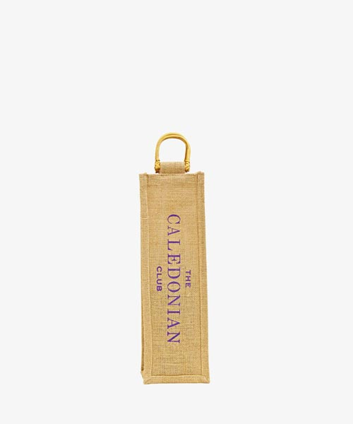 Jute 1 bottle bag with cane handle