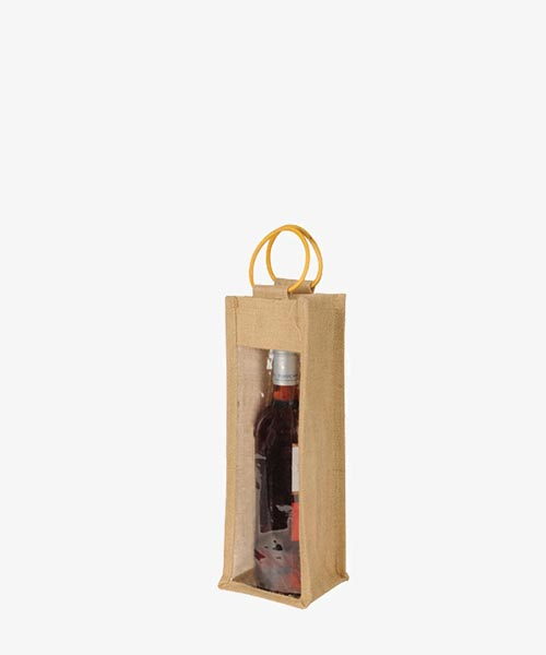Jute wine bags with cane handle